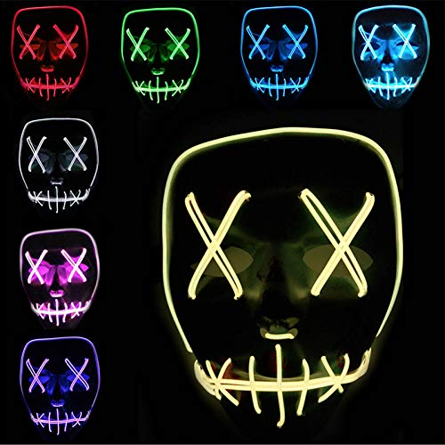 ZuoLan EL Wire Scary LED Light Up Maske Party Club Costume Cosplay Halloween Masks Masquerade (Lila)