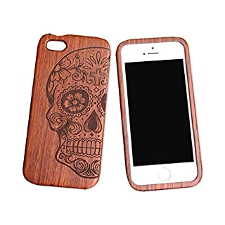 iPhone 5C 5s Wooden Phone Case iphone 5se Carved Wooden Case iphone 4s All Solid Wood case (iphone5C, Skull head)