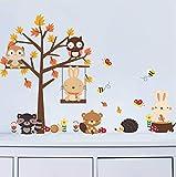 HLLCY Cartoon Tier Eule Kaninchen Ahorn Baum Wandaufkleber Kinderzimmer Baby Schlafzimmer Kindergarten Dekor Selbstklebende Papier Aufkleber