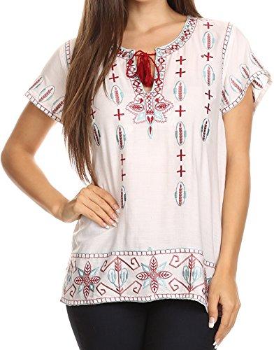 Sakkas Jile Ampia Boxy ricamato a maniche Tassel Tie camicia della parte superiore della tunica camicetta bianca