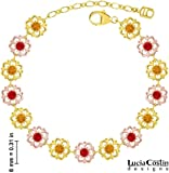 24K Yellow and Pink Gold Plated over .925 Sterling Silver Flower Bracelet by Lucia Costin with Red and Yellow Swarovski Crystals, Accented with Fancy Dots; Handmade in USA