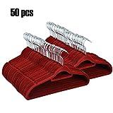 mymotto 50er Set Anti-Rutsch Samt Kleiderbügel Anzugbügel,platzsparend, 0,5cm dick, 360° drehbarer Haken Multifunktionsbügel