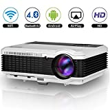 4500 Lumens LED LCD Android Wifi Video Projector Android Bluetooth Home Outdoor Theater Projector Airplay Miracast Smart Wireless Beamer Proyector HDMI USB VGA AV TV Audio for DVD Player iPad Xbox Mac