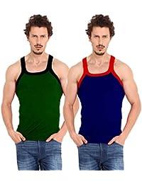 Zimfit Ultra Men's Gym Vest Pack Of 2 - (Green_Blue)