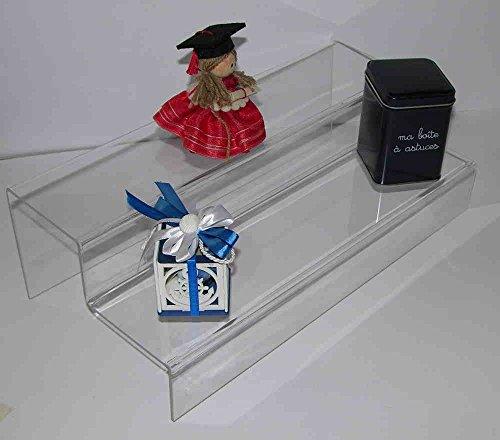 Dmd espositore a scaletta in plexiglass trasparente n. 2 ripiani larghi cm.10 ca. dimensioni totali cm. 50 lungh. x 12 hx 20 largh.
