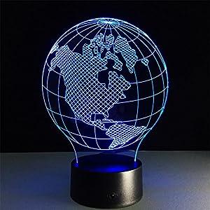 H&M Luz de noche América Central mapa Escritorio 3d lámpara 7 colores Cambio Touch interruptor de la mesa de control remoto LED de luz de la noche de iluminación la decoración del hogar accesorios para el hogar