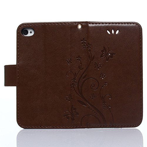 iPhone 4 4S Hülle,COOLKE Retro Butterflies Pattern Design PU Leather Wallet With Card Pouch Stand Lederhülle Leder Tasche Case Cover für Apple iPhone 4 4S Schutzhülle Hülle - Rose Brown