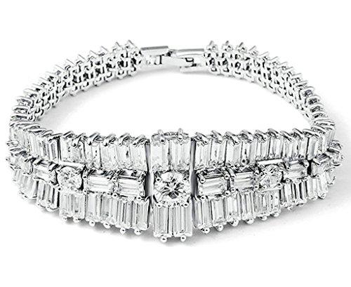 KnSam Damen Platin Plattiert Armband Armreif Edle Quadrat Runde Weiß Crystal Zirkonia [Neuheit Armband]