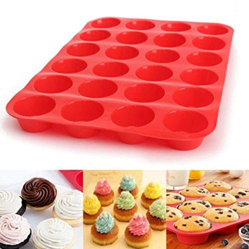Winkey Moule à Cake, 24cavités Mini Muffin Savon en silicone Cookies Moule Bac à cupcake Bakeware Pan Mini Cookie Pan