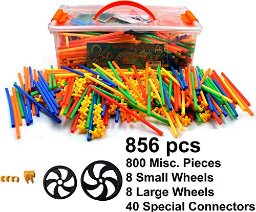 Playlearn Straws and Connectors Building Toy 856 Piece Straws and Connectors Set with 16 Wheels and 40 Special Connectors