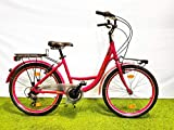 SCHIANO Bici Bicicletta Olanda Donna Ravenna 24'' Alluminio Shimano 6V Rosa