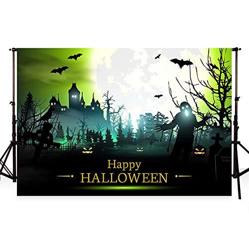 WaW 7x5ft halloween hintergrund fotografie kulisse halloween kürbis laterne hintergründe halloween background blue moon night requisiten für studio fotoshooting (2.2x1.5m) (Halloween-kulissen Und Requisiten)