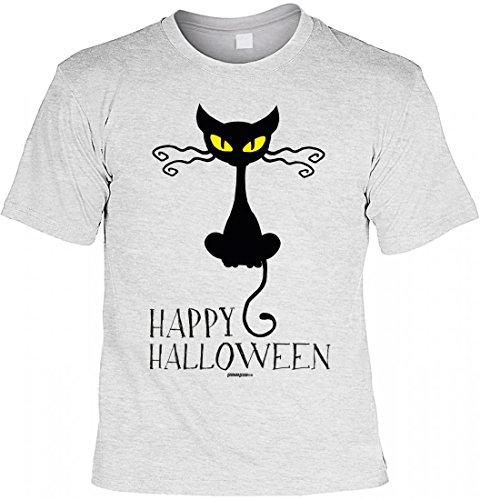 sex T-Shirt - Katze: Happy Halloween - Coole Geschenk-Idee zur gruseligsten Zeit Des Jahres in Farbe: Grau, Größe:M (Halloween-ideen Für Katzen)