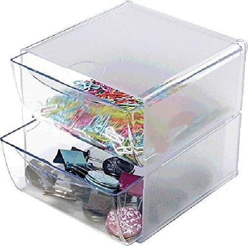 2 Schubladen Cube (deflect-o Organiser-System CUBE /DE350101, glasklar, 2 Schubladen, 152x182x152mm)