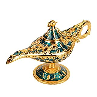 Genie Licht Lampe, Aladdin Licht Magie Genie Licht Metall geschnitzte hohle Legende Lampe Wunsch Licht Lampe Topf Dekor(# 2)