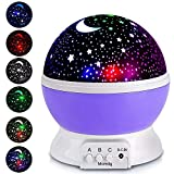 XFH ZJB00186-XKD-Gm-Purple Night Lights for Children Rotation Night Projection Lamp for Kids Children Bedroom Bed Christmas Purple