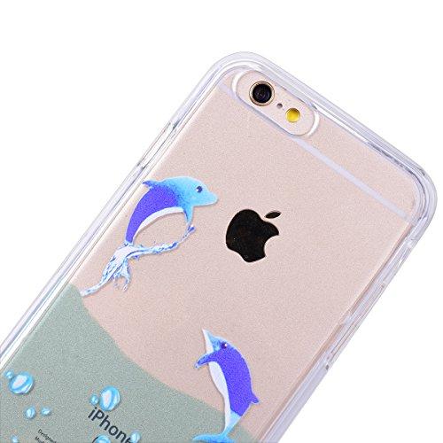 GrandEver Coque pour iPhone 6 Plus et iPhone 6s Plus 2 en 1 Intégral Plastique Hard Dur Dual Layer Animé Backcover avec Silicone Bumper de Protection Housse Case Anti-rayure Etui ultra-fin très chic H Dauphin