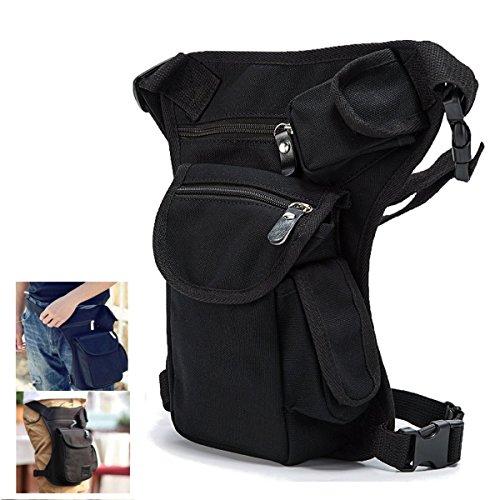 BeinTasche,CAMTOA Hüfttasche Tactical Hip Bag Sport Taktische Airsoft Militär Tropfen Bein Schenkel Bag Dienstprogramm Gürtel Tasche Beinbeute für Outdoor Fahrrad Motorrad Ausflug schwarz Schwarz Tasche