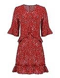 Parabler Damen Elegant V-Ausschnitt Blusenkleid Freizeitkleid Strandkleider Partykleider A Linie Halbarm mit Rüschen Punkte Polka Dot Causual Kleid