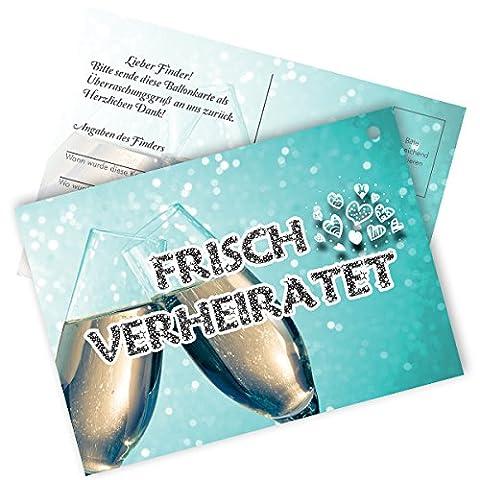 ULTRA LEICHT 1gramm 50x Ballonflugkarten Flugkarten Weitflugkarten für Ihre Hochzeitsfeier Hochzeit Trauung Standesamt ## Verschiedene Motive ## Frisch Verheiratet - Just Married (Sektgläser Frisch Verheiratet)
