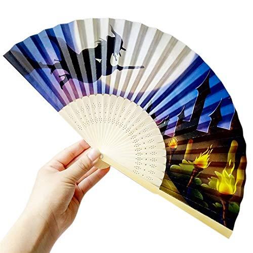 XIAOHAIZI Handfächer,Sommer Bambus Fan Hexe Muster Farbverlauf Hand Geschnitzte Bambus Faltfächer Stil Aus Holz Halloween Party Decor Prop Supplies (Hexe Kostüm Händen)