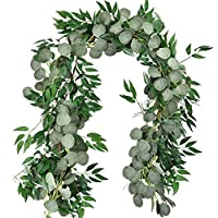 Amkun 6 Ft Blended Faux Silver Dollar Eucalyptus and Willow Vines Twigs Leaves Garland String Wedding Home Decoration (Green)