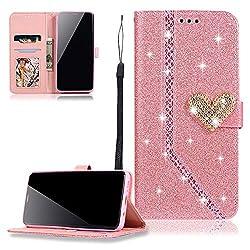 FNBK Kompatibel mit Hülle Samsung Galaxy S9 Plus Handyhülle Glitzer Herz Nähen Ledertasche Schutzhülle Leder Wallet Flip Case Tasche Bookstyle in Rosa Kartenfächer Stand Klapphülle für Galaxy S9 Plus