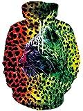 Loveternal Tiger Hoodie 3D Druck Kapuzenpullover Langarm Sweatshirt für Frauen Männer mit Kordelzug XL