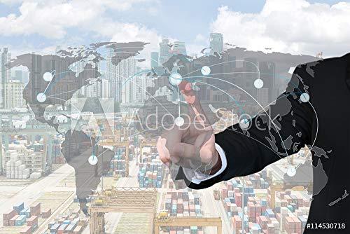 druck-shop24 Wunschmotiv: Businessman Working with Virtual Interface map global Partner co #114530718 - Bild hinter Acrylglas - 3:2-60 x 40 cm / 40 x 60 cm -