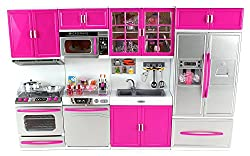 Doll Playsets My Modern Kitchen 32 Full Deluxe Kit Battery Operated Toy Doll Kitchen Playset w/ Lights, Sounds, Pe
