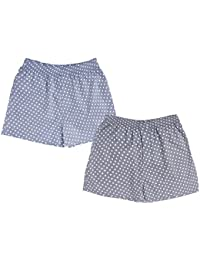 Nuovi Mens Cotton Satin Navy Blue And Black Polka Dot Boxers (Pack Of 2)