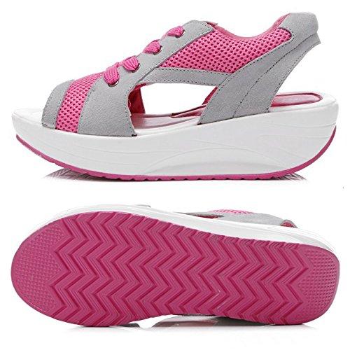 TOOGOO(R) Sandali della testa di pesce di estate i pattini delle donne con la focaccina della piattaforma Blu US4.5=EUR35=22.5CM Rosso