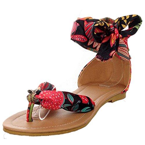 TAOFFEN Femmes Mode Boheme Sandales Clip Toe Plat Chaussures De Bowknot Noir