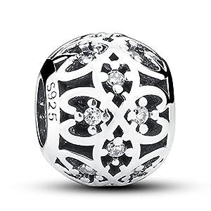 Charm-Anhänger Vierblättriges Kleeblatt durchbrochenes Design 925Sterling-Silber für Pandora- und europäische Armbänder geeignet
