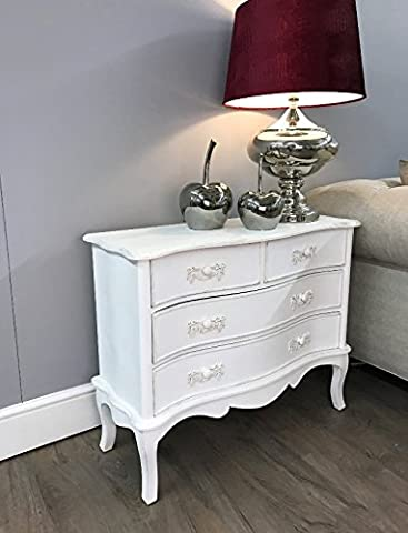 French Chest Drawers Large Bedroom Living Room Furniture Shabby Chic Vintage Style Storage Unit Side Console Cabinet White Ivory Antique Country Stunning Distressed Rustic Wooden Boudoir Buffet Table NO ASSEMBLY REQUIRED*****FREE FAST DELIVERY*****