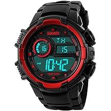 SKMEI - Reloj Deportivo Digital con Doble Horarios Movimiento Resistente al Agua para Chicos Hombres Reloj Multifunciones Alarma Cronómetro Calendario - Rojo