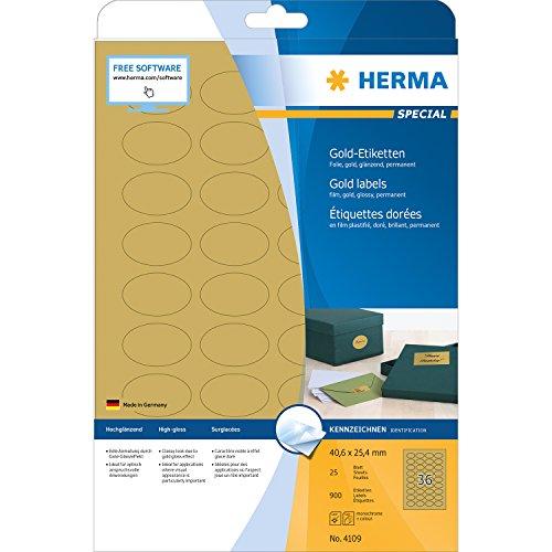 Herma 4109 Wetterfeste Folien-Etiketten oval, gold (40,6 x 25,4 mm) 900 Aufkleber, 25 Blatt DIN A4 Klebefolie glänzend, bedruckbar, selbstklebend