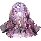 Xmiral Damen Schal Lotus Dot Druck lange weiche Wrap Mädchen Tintendruck Schal Schals(Violett)
