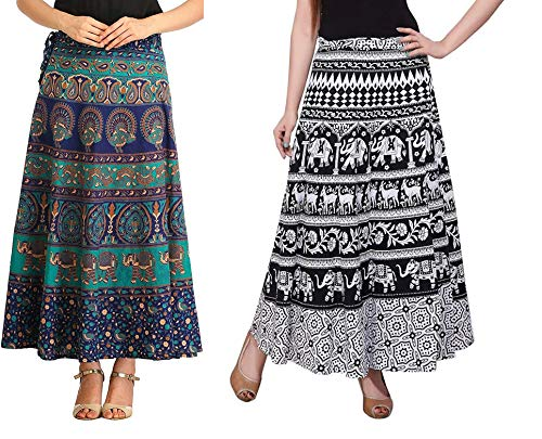 MRV MACY FASHION Women\'s Cotton Wrap Around Long Skirt (Red, Blue, Black and White, Free Size)
