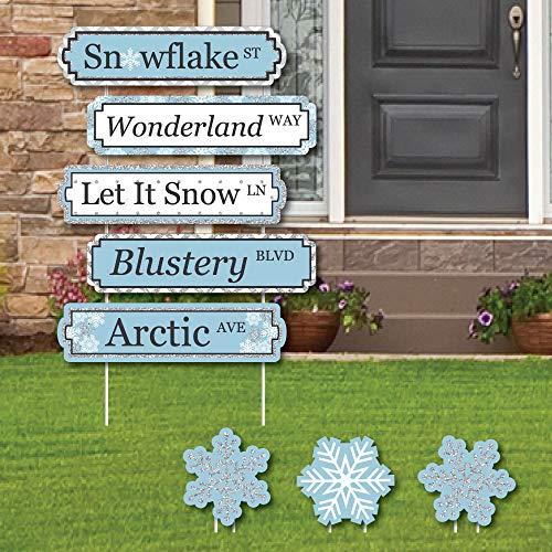 Winter-Wunderland Straßenschilder mit Schneeflocken-Motiven und Dekorationen, 8 Stück ()