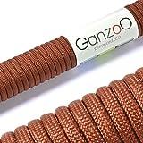 Paracord 550 Seil Dunkel-Braun | 31 Meter Nylon-Seil mit 7 Kern-Stränge | für Armband | Knüpfen von Hunde-Leine oder Hunde-Halsband zum selber machen | Seil mit 4mm Stärke | Mehrzweck-Seil | Survival-Seil | Parachute Cord belastbar bis 250kg (550lbs) - Marke Ganzoo