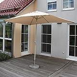 Alu Sonnenschirm Gartenschirm N23, 2x3m, rechteckig, neigbar, rostfrei ~ creme - 2