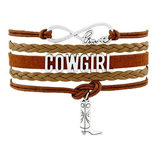 CXKNB Land Junge Mädchen Cowboy Cowgirl Hut Stiefel Unendlichkeit Charme Armbänder Antik Silber Handgemachte Verstellbare Schmuck Frauen Männer Geschenk (Für Cowgirl-outfits Kinder)