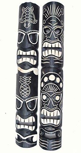 2-piezas-Tiki-Mscara-pared-look-aus-madera-con-Tiki-Hawaii-Estilo-in-100cm-Largo-Mscara-de-pared
