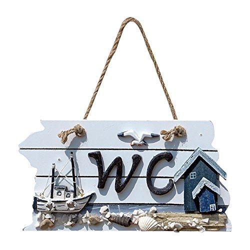 1Pieza Fuuny hecho a mano madera colgar, diseño con símbolo de señalización para inodoro WC baño Puerta Decoración De La Pared
