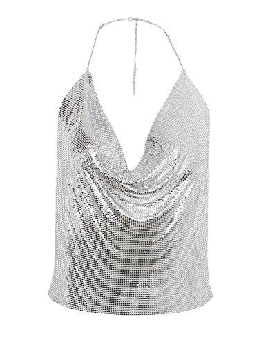 Simplee Apparel Damen Metall Tops Halfte Rückenfrei V-Ausscnitt Crop TOP Bustier Clubwear Körper Kette Gold Silber Schwarz Silber