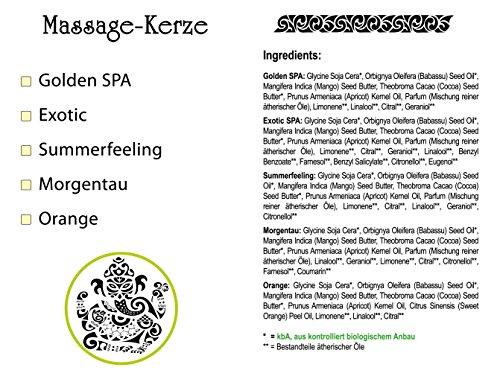 Greendoor BIO Massagekerze Golden SPA, 100 ml - BIO Sojawachs & BIO Babassuöl, natürliche Mischung entspannender ätherischer Öle - vegan, rußt nicht, ohne Tierversuche - beliebtes Geschenk, Massageöl Massage Öl - 5
