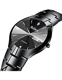 Mens Simple Designer Watches Men 30M Waterproof Date Calendar Stainless Steel Analogue Quartz Watch Men's Business Casual Luxury Dress Black Wrist Watches with Black Dial
