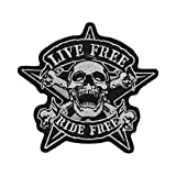 Lucky Patches, Aufnäher, Applikation, Aufbügler, Iron on Patch - Live Free Ride Free, Pirate,...