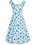 MUXXN Damen 1950er Boot-Ausschnitt Muster Hanhnentritt Party Swing Kleid(2XL, Blue Floral)